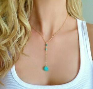 Sleeping Beauty Turquoise Y Lariat Necklace in 18K Yellow Gold Over 17 inches