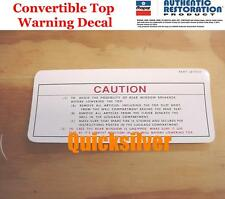1967 1971 Dodge Chrysler Plymouth Convertible Top Warning Decal MoPar NEW