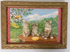"Kittens on Antique Framed Tea Towel  - Wood Gold Frame 21.5"" x 15.5"" Linen"