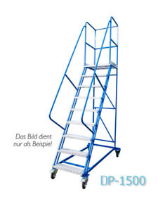 Fahrbare Podestleiter Treppen mit Rollen 5 Stufe Stahl Leiter Plattform DP15