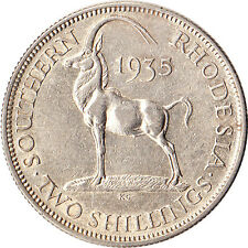 1935 Southern Rhodesia 2 Shillings Silver Coin KM#4 Mintage 365,000