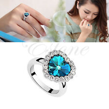 Luxury Titanic Heart of the Ocean Charm Blue Crystal Rhinestone Ring For Women