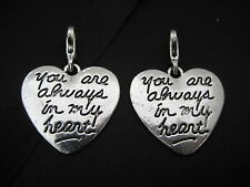 """Clip On Silver Love Heart Charm """"You will always be in my heart"""" Birthday Gift"""