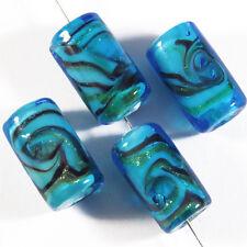 Lot de 4 Perles en Verre Lampwork Murano Tubes 10x17mm Bleu Turquoise