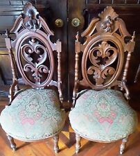 ANTIQUE WALNUT Victorian-GOTHIC-Slipper-PRAYER-Pierced-CARVED-Ornate CHAIRS-PAIR