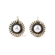 Hot New York Pearl Love Bloom Bud Snap Closure Clip On Stud Earring Fringe Gold