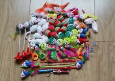 Bulk Cat Toys Kitten Rod Mouse Feathers Bells Balls Fur Scratch Teaser Rat UK