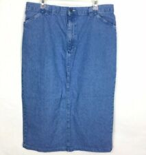 Riders Casuals Womens Denim Skirt Blue Slit Flower Pot Embroidered  Sz Large A46