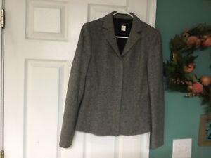 Women's J.Crew Black & White Wool Blend Blazer Jacket Size 10 (CON18)