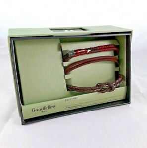 Mens Leather Wrist Bands set  in Gift Box adjustable band set of 3