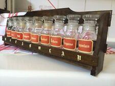 Vintage 1A 60er 70er Jahre Gewürzregal m. 9 Gläsern Deko Küche Gewürzbehälter