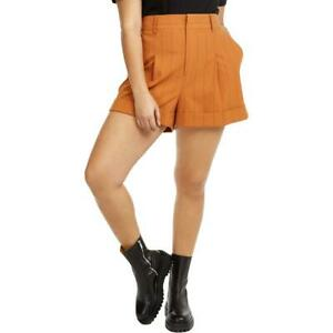Danielle Bernstein Womens High Waist Pinstripe Wide Leg Shorts Plus BHFO 5450