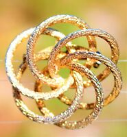 Gold tone textured Love knot multi circles 3D BROOCH