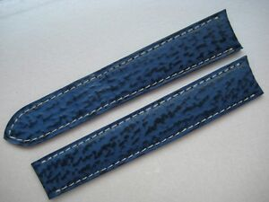 GENUINE CARTIER WATCH STRAP BAND BLUE SHARK SKIN LEATHER 17 x 16 mm NEW