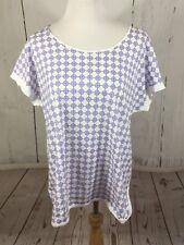 Tommy Hilfiger XL NWT Short sleeve women's 100% Cotton White edge, Blue Pattern