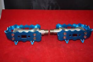 Vintage 9/16 pedal set anodized blue alloy nos