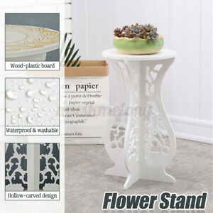 White Modern Small Round Side Table Beside Tea Coffee Lamp Plant Stand Furniture