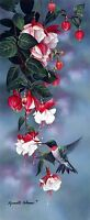 Chart Needlework Counted Cross Stitch Pattern-Hummingbird and Fuchsia Flower