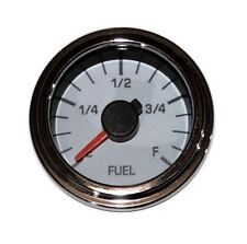 """Fuel Gauge, 2""""/52mm, programmable, white/chrome, Led, low fuel warning, 001-F-Wc"""