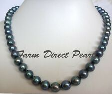 """18"""" Inch Genuine ROUND 9-10mm Black Pearl Strand Necklace Cultured Freshwater"""