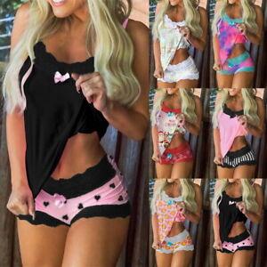 Womens Lace Pyjamas Set Sleepwear Nightwear Ladies Pjs Cami Shorts 2PCS Xmas PJS