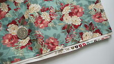 Vintage Cotton Fabric MBT CRIMSON CREAM FLORAL ON TURQUOISE 1-1/2 Yd/43""