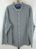 George Mens Navy White Checked Long Sleeve Button Down Shirt Size 3XL