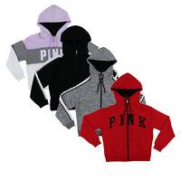 Victoria's Secret Pink Hoodie Full Zip Sherpa Lined Sweatshirt Jacket Logo New