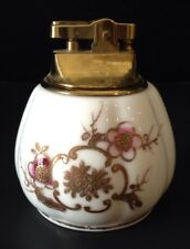 1940s Vintage Table Top Cigarette Lighter Hand Painted Gold Floral Bone China