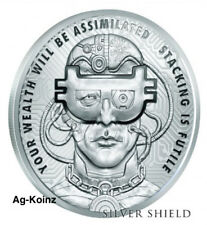 1 oz 2018 BorgCoin Proof - Death of the Dollar #14 Silver Shield COA Blockchain