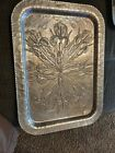 Vintage Trade Continental Hammered Aluminum Serving Tray Hand wrought flowers