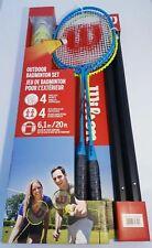 Wilson Outdoor Badminton Set 4 Hypersteel Racquets 4 Shuttlecocks 20ft Net + Bag