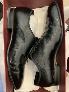 Used Bally Mens Leather Shoes Brogue Black Calf Patent Size US11.5 EU45.5