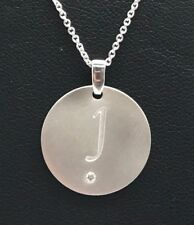 Sterling Silver Diamond Accent J Engraved Letter Initial Matte Round Necklace