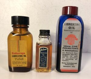 3 Projector Oil Lot Filmo Bell & Howell Victor Kodascope Bottle Lubricating VTG