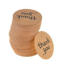 Lot 100pcs Thank You Wedding Brown Kraft Paper Tag Bonbonniere Favor Gift Tags