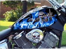 BLUE flames middle finger skull 4pc motorcycle vinyl sticker tank wrap