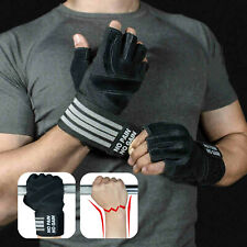 Fitness Weight Lifting Gloves Gym Sports Workout Training Wrist Wrap Men M L XL