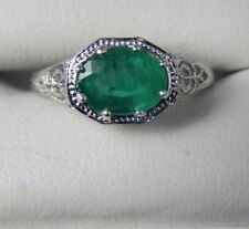 1.34ct Oval Green Colombian Emerald Filigree Ring Sterling Silver  Free Sizing