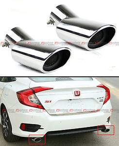 FOR 2016-2020 HONDA CIVIC STAINLESS POLISHED MUFFLER EXHAUST TIP FINISHER X 2