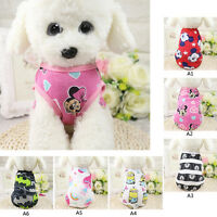 Cotton Printing Flower Cartoon Summer Pet Dog Shirt Vest Clothes Supplies XS-2XL