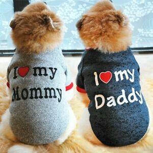 2pcs Warm Small Dog Sweater Soft Cat Puppy Clothes Sweatshirt I Love Mommy/Dad