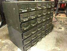 Set Of Two Vintage Equipto Metal Industrial Parts Drawers Cabinet