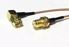"4"" RG316 RP-SMA Male RIGHT Angle to RP-SMA Female RF Pigtail cable USA high Qual"