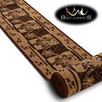 Modern Hall Carpet Runner BCF BASE brown Flowers Stairs 60-150cm extra long RUGS