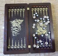 Wooden Backgammon game hand made board set with chips dices Ash wood Black Sea