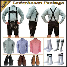 Oktoberfest German Bavarian Trachten Men 4 Pcs Short Lederhosen Package Set Sv11