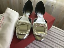 Roger Vivier Ballerine Chips Strass d'Orsay Flat, Mirrored Silver $975 Size 37/7