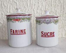 Lot de 2 anciens pots à épices de cuisine en porcelaine sucre et farine