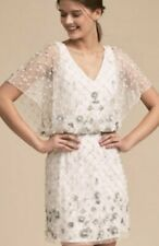 New $380 BHLDN DAYFLOWER Ivory Silver Embellished Shower Destination Formal Sz 8